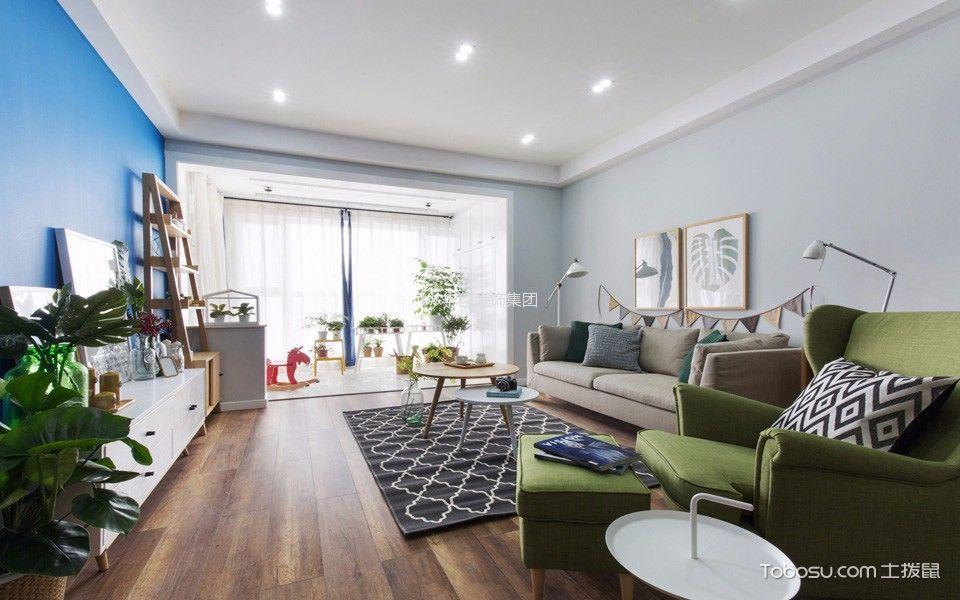 沙湖港湾90平两居室北欧装修风格效果图