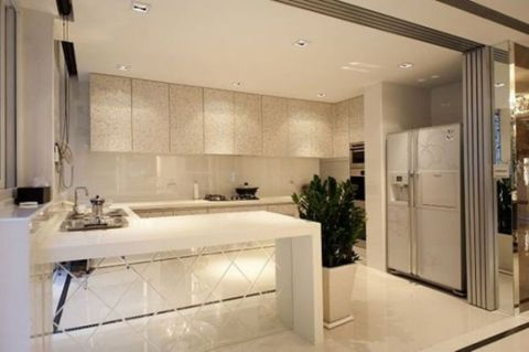厨房吧台田园风格装修设计图片