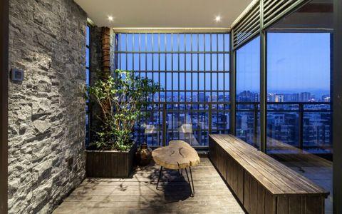 阳台背景墙新中式风格装饰图片