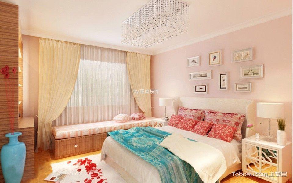 卧室粉色照片墙现代简约风格装潢效果图