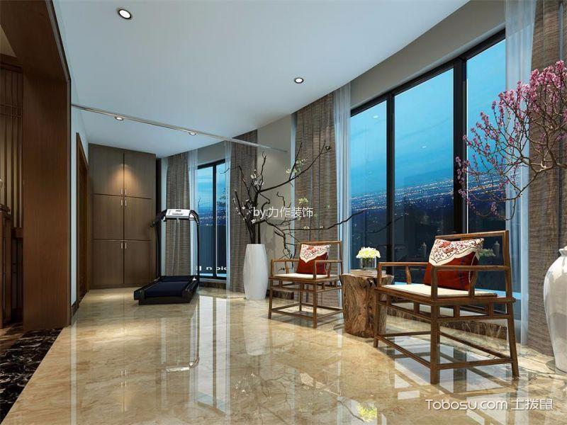 阳台黄色地砖新中式风格装潢效果图