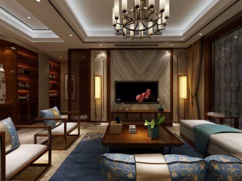 恒大城三室两厅一厨两卫中式风格装修案例图