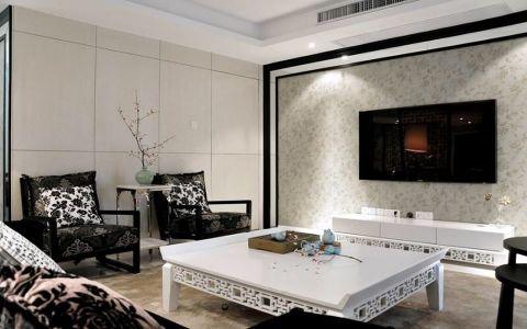 中铁世纪金桥二居室新中式黑白风格装修效果图