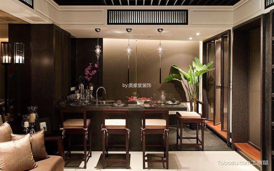 厨房灰色吧台新中式风格装饰设计图片