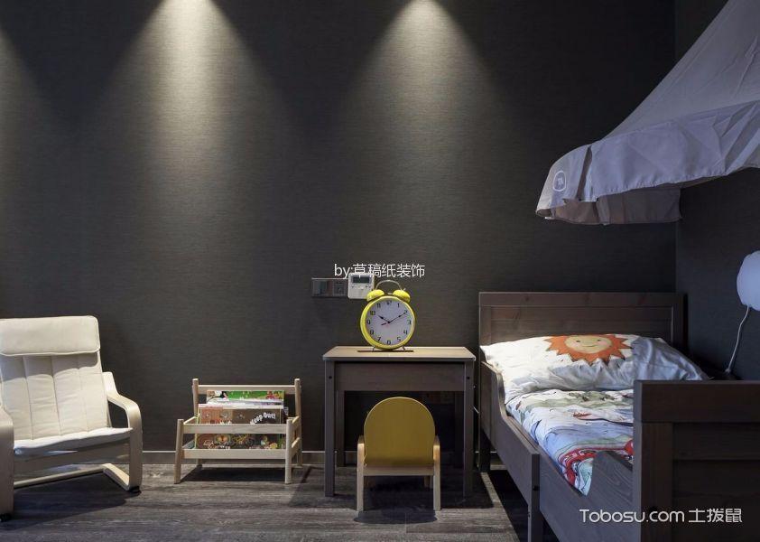 儿童房咖啡色床现代简约风格效果图