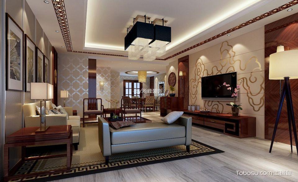 客厅红色电视柜新中式风格装潢设计图片