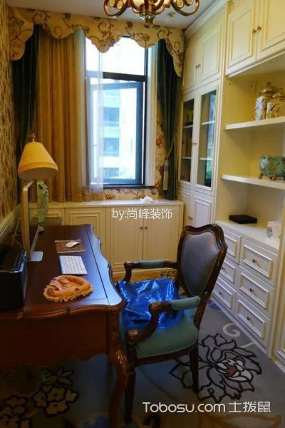 书房红色书桌美式风格装修图片