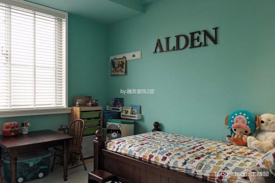 儿童房绿色背景墙混搭风格装修图片