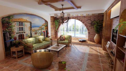 海马公园田园风格三室两厅装修效果图