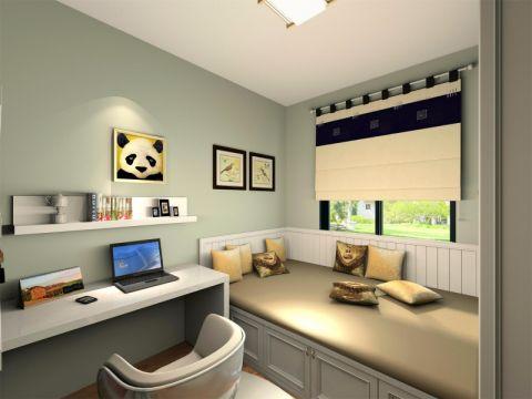 书房背景墙日式风格装修设计图片