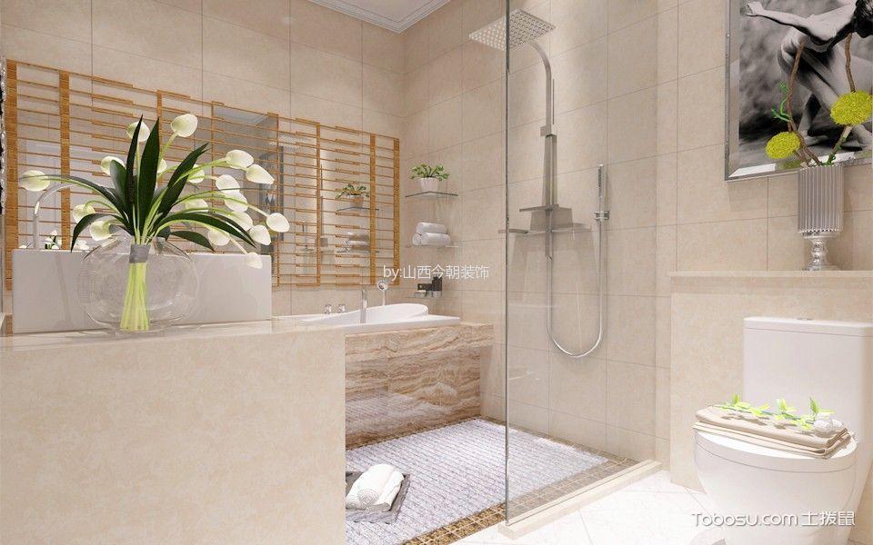 卫生间橙色背景墙简欧风格装修效果图