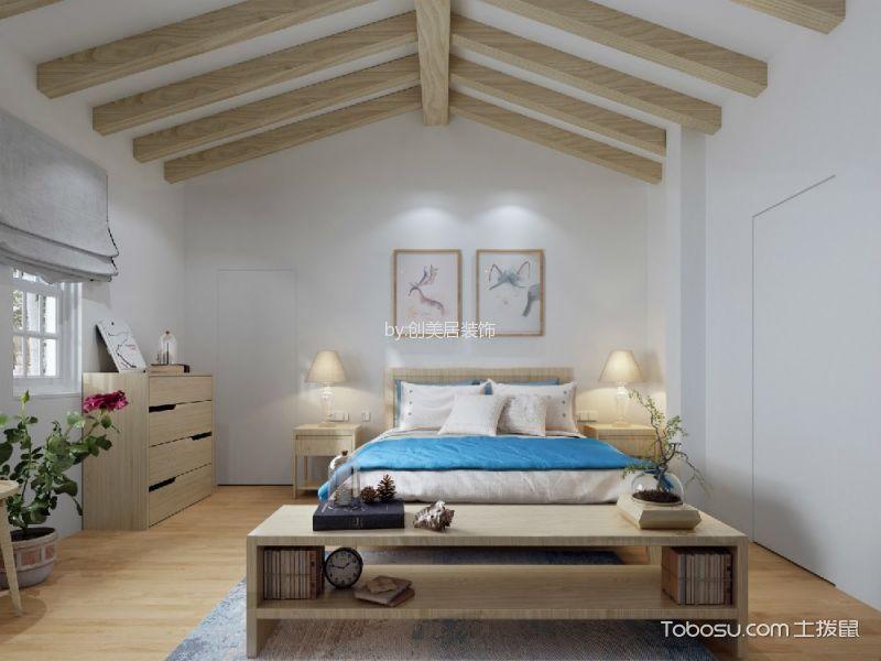 卧室黄色床北欧风格装潢效果图