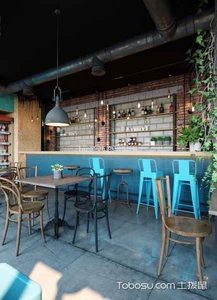 135平米美式田园风格咖啡厅灯具装饰实景图