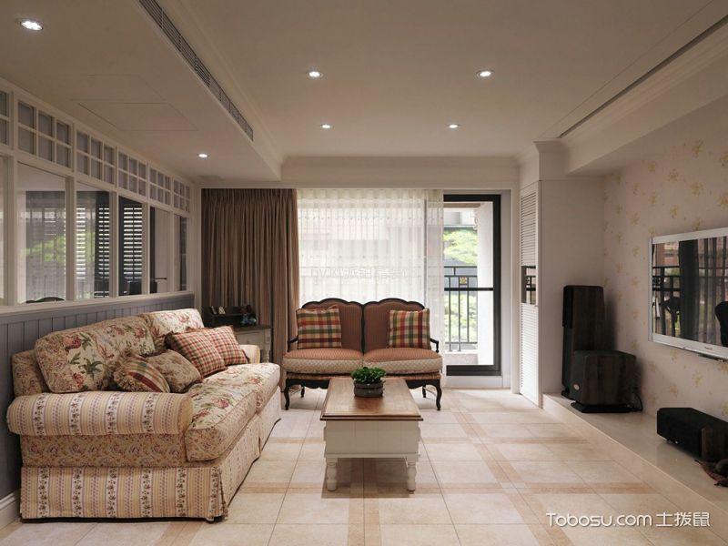 田园风格110平米三房两厅新房装修效果图