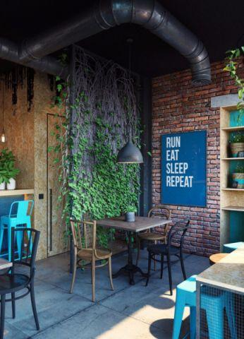 135平米美式田园风格咖啡厅工装效果图