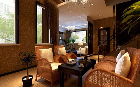 混搭客厅紫檀木茶几装修设计