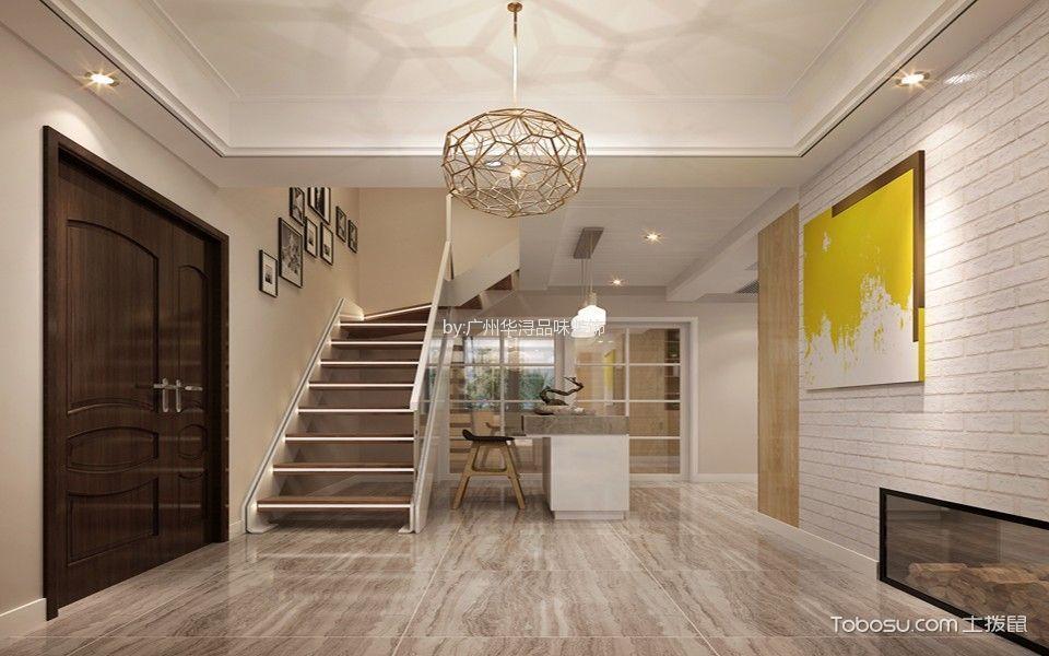 玄关黄色吊顶北欧风格装潢效果图
