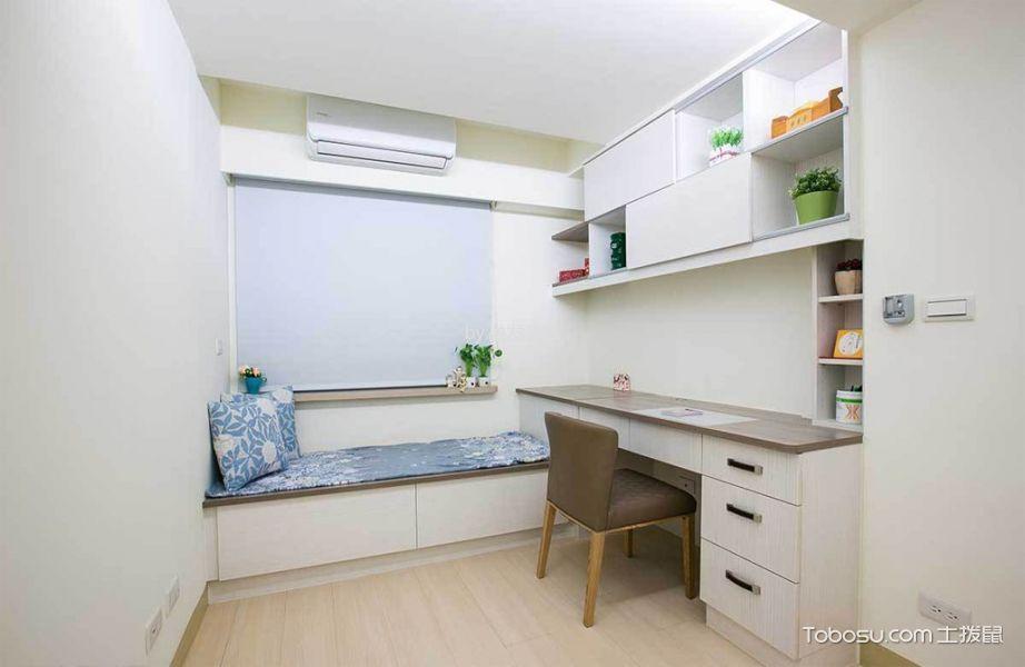 书房白色书桌混搭风格装修设计图片