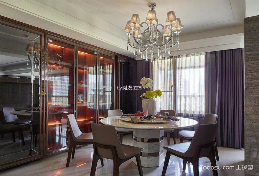 餐厅紫色窗帘现代风格装潢设计图片