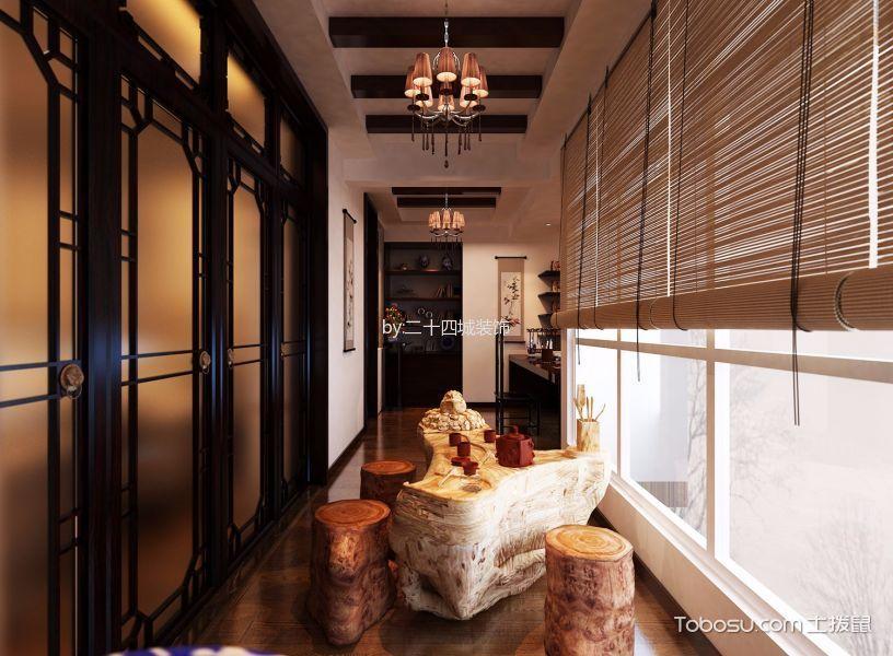 阳台黄色窗帘中式风格装潢设计图片