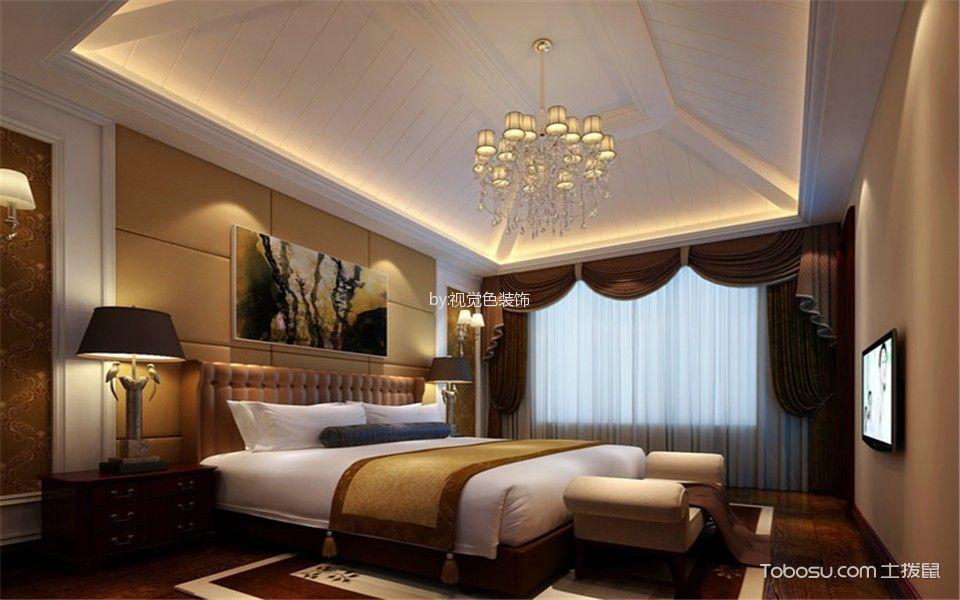 卧室白色灯具美式风格装潢效果图