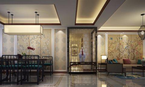 红豆广场新中式风格120平套房装修效果图