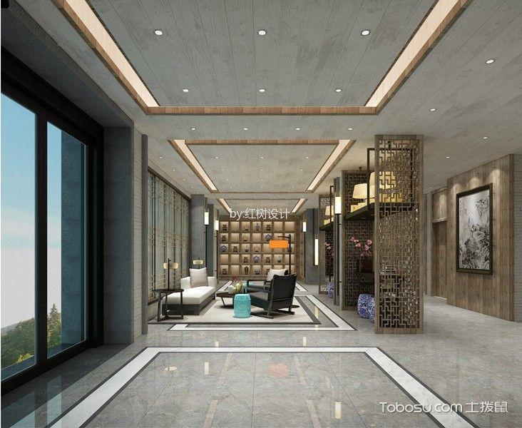 佛教新中式酒店大厅装潢实景图