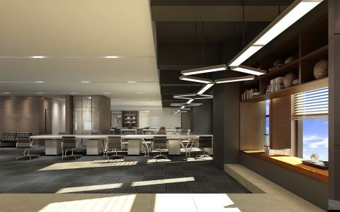 东阳科技现代风格办公室工装装修效果图
