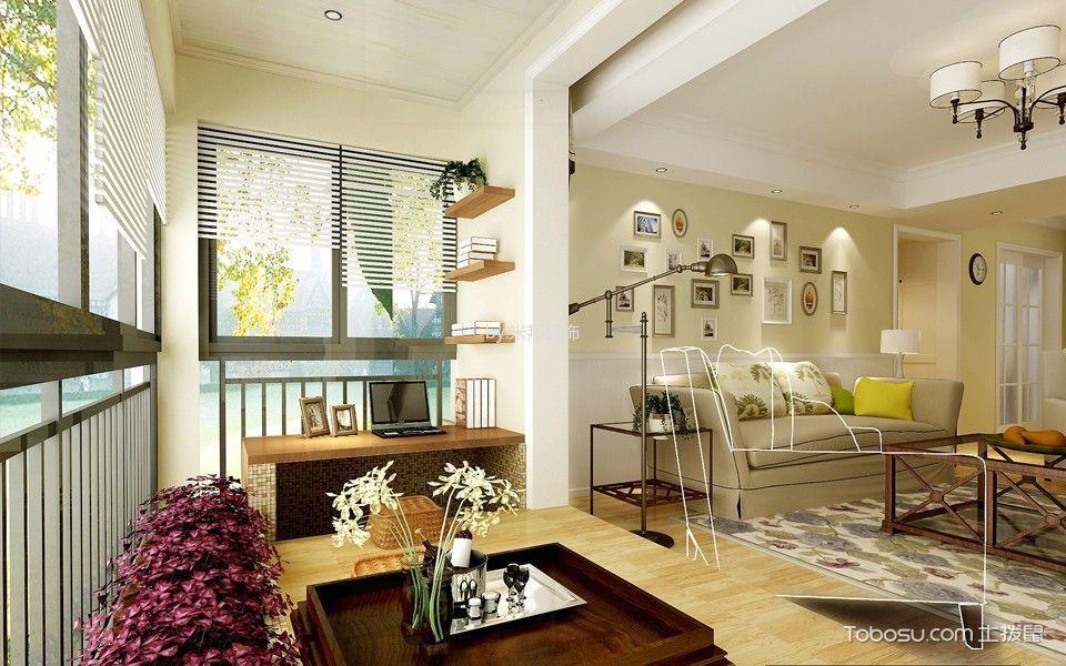 阳台米色榻榻米美式风格装潢效果图