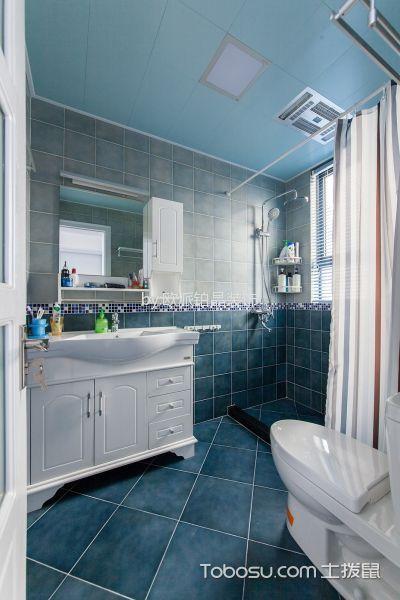 卫生间蓝色吊顶地中海风格装潢效果图