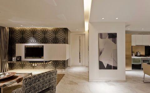 客厅咖啡色窗帘现代风格装潢设计图片