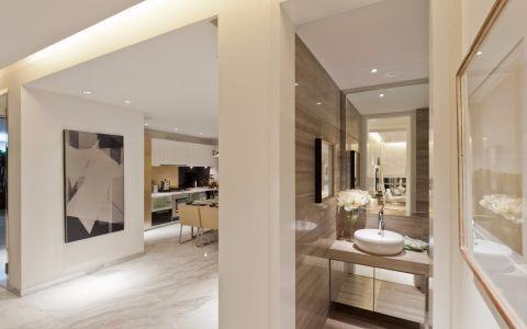 卫生间咖啡色洗漱台现代风格装潢效果图