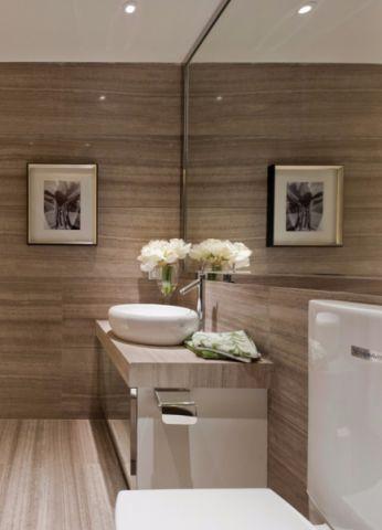 卫生间咖啡色背景墙现代风格装修图片
