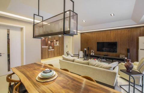客厅咖啡色背景墙混搭风格效果图