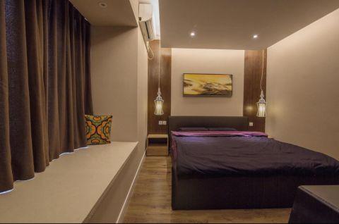 卧室咖啡色背景墙混搭风格装潢效果图