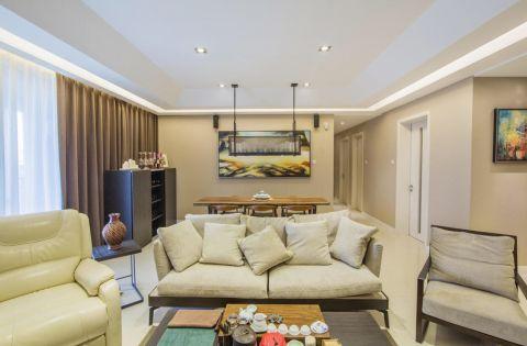 客厅米色背景墙混搭风格装潢图片