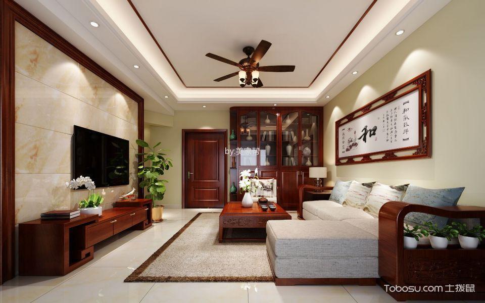 学苑华府红色120平新中式3室2厅装修效果图