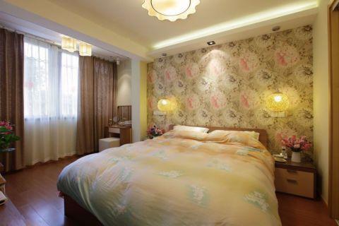 卧室黄色背景墙装修实景图