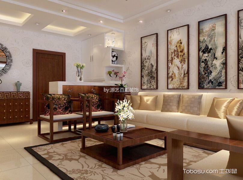 奥林匹克花园三居室新中式风格装修效果图