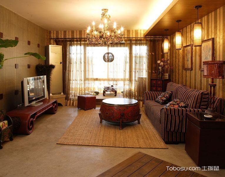 客厅 背景墙_世家别院东南亚风格现代简约风格装修案例
