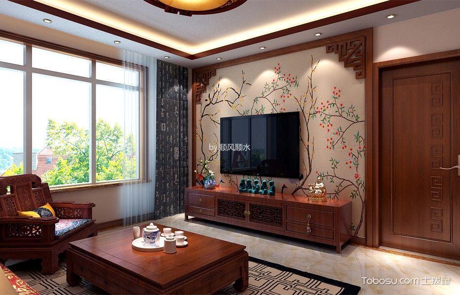 锦绣前程中式三居室效果图