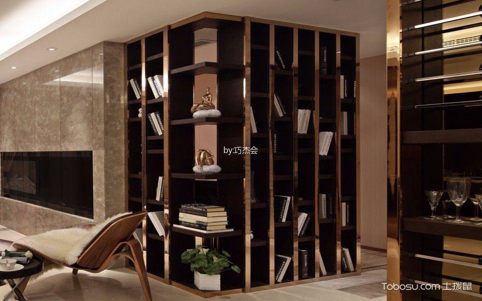 客厅咖啡色书架现代风格装潢图片