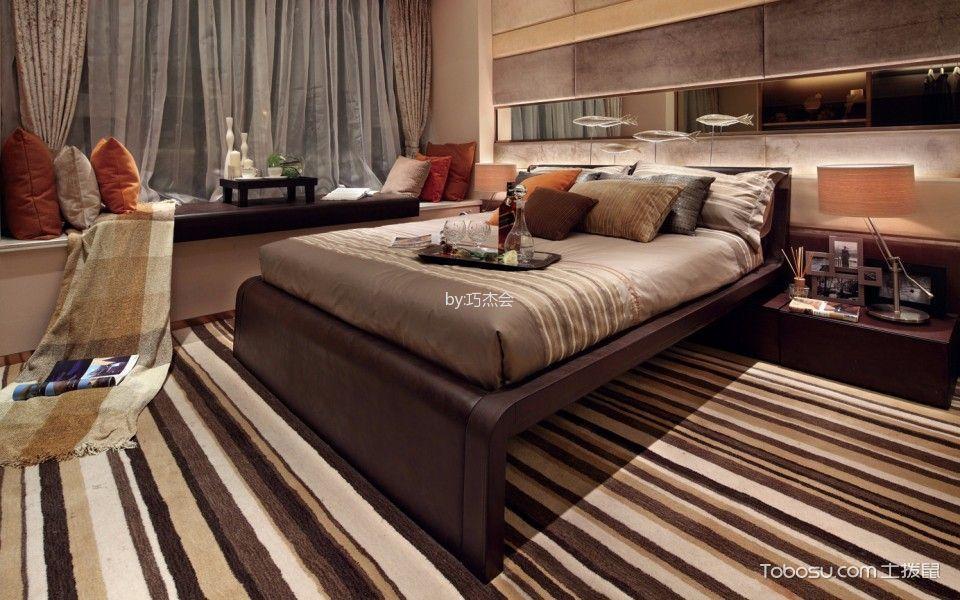 卧室咖啡色床现代风格装潢设计图片
