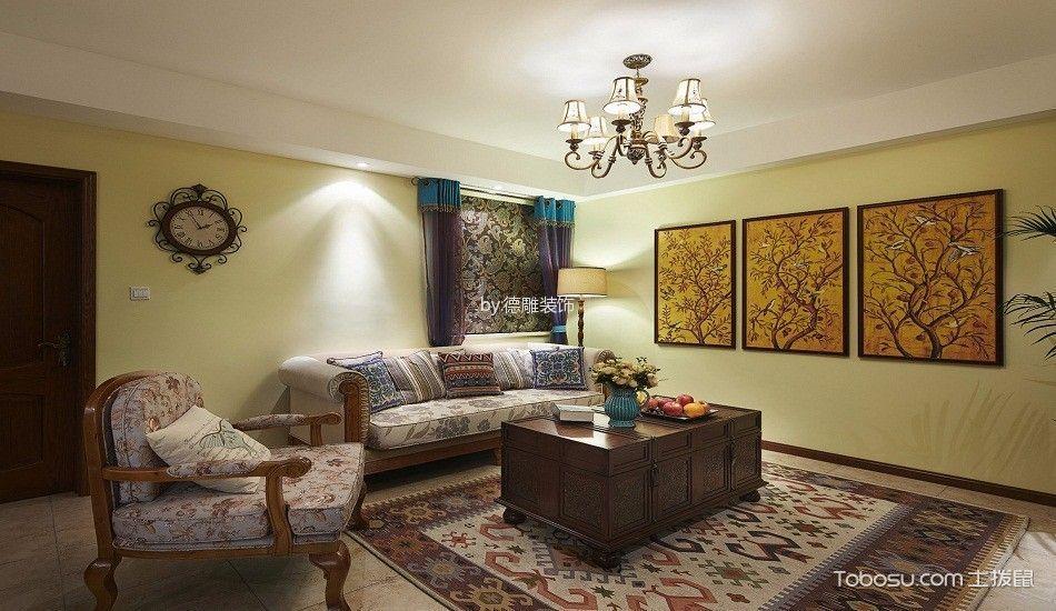 客厅白色吊顶东南亚风格装潢效果图