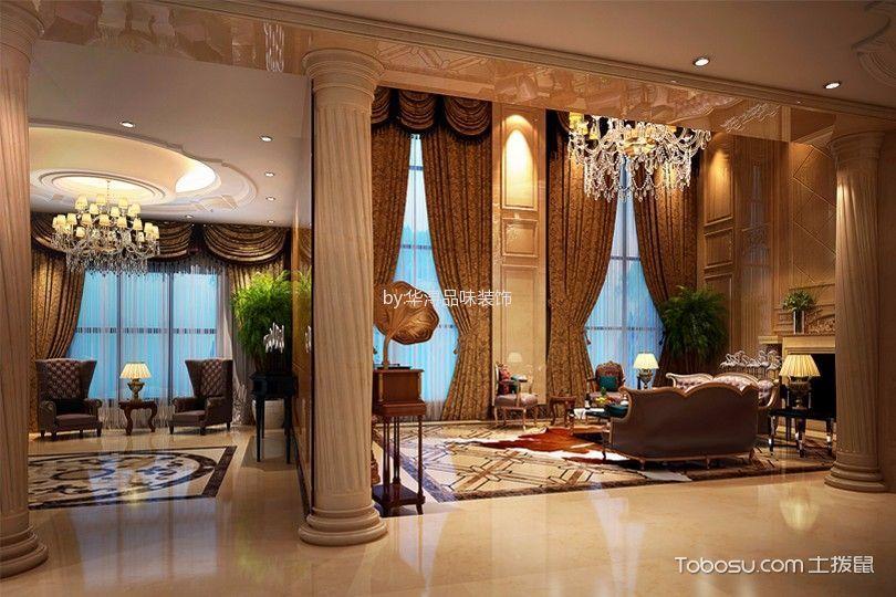 客厅咖啡色窗帘欧式风格装潢设计图片
