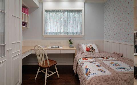卧室蓝色背景墙田园风格装修效果图