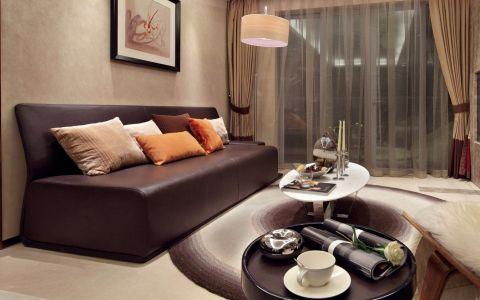 客厅黄色窗帘现代风格装修图片