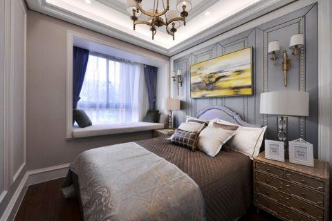 卧室蓝色窗帘欧式风格装饰效果图