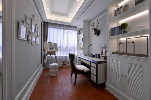 书房灰色窗帘欧式风格装饰图片