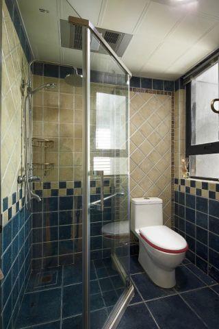 卫生间彩色背景墙美式风格装饰效果图